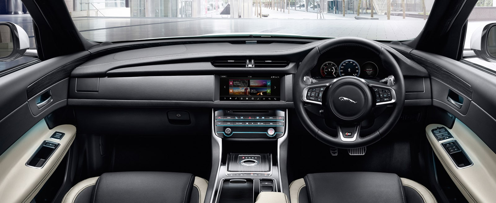 The Black and Cream Leather Interior of A Jaguar XF